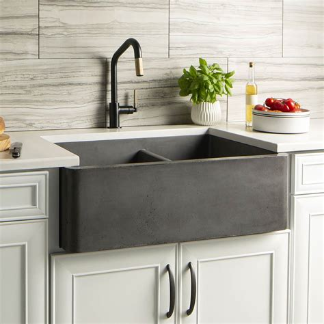farmhouse double bowl concrete kitchen sink native trails