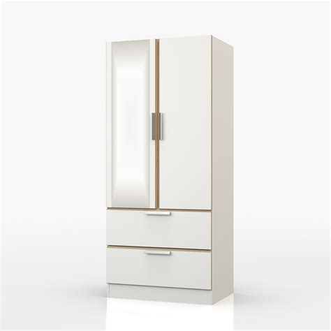 White Wardrobe With Drawers And Mirror by Waterfall White And Oak 2 Door 2 Drawer Wardrobe With Mirror