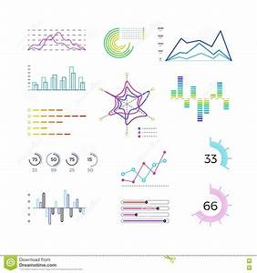 Thin Line Chart Elements For Infographic  Outline Diagrams