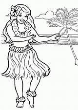 Coloring Pages Luau Printables Hawaiian Hula Popular sketch template