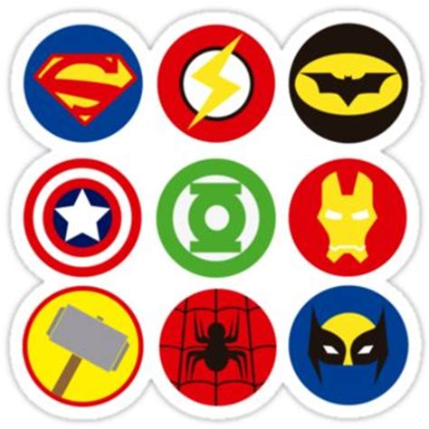 superheroes logos from redbubble stickers