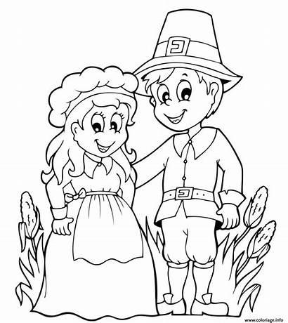Thanksgiving Action Grace Coloring Coloriage Couple Pilgrim