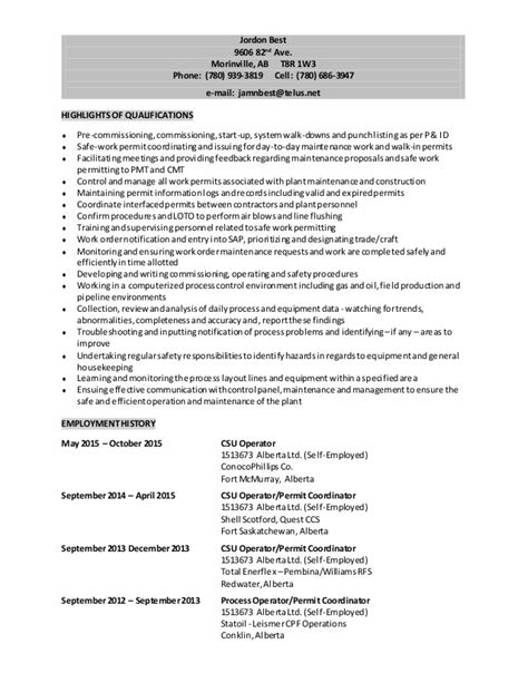 Power Engineer Resume by Jordon Best Resume Third Class Power Engineer Csu Operator Permit