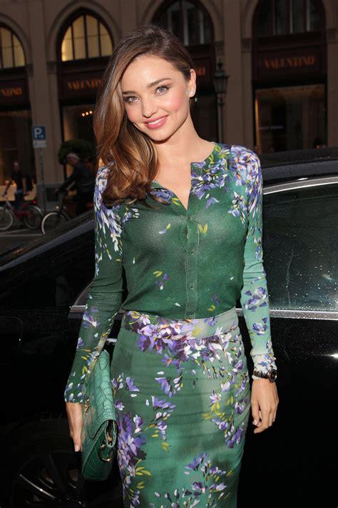 Miranda Kerr in a Floral Escada Cardigan Sweater and ...