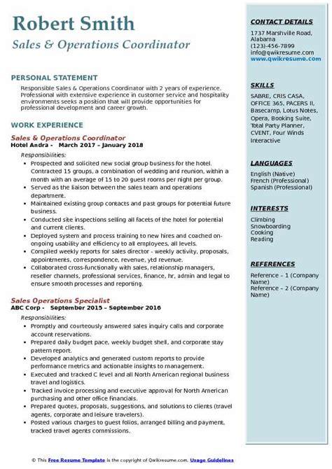 sales operations coordinator resume samples qwikresume