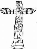 Totem Pole Coloring Printable Native Poles Sheets Tiki Outline Clipart Eagle Mask Alaska Aboriginal Template Drawing Craft Symbols Sketch Totems sketch template