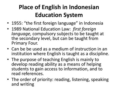 secondary english education  indonesian context