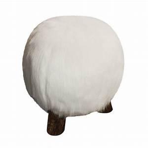 Pouf Fourrure Blanc : pouf boule fourrure synthetique blanc sofacasa ~ Teatrodelosmanantiales.com Idées de Décoration