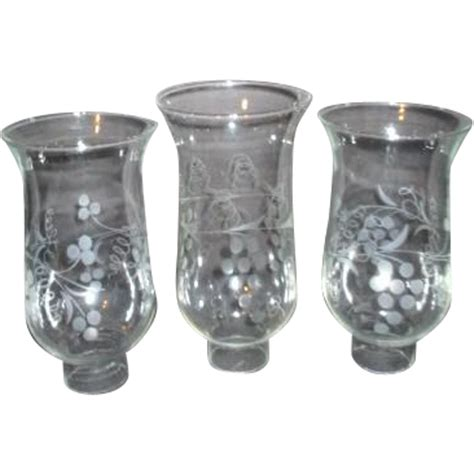 hurricane l globes replacement set of three hurricane l globes with acid etched grapes