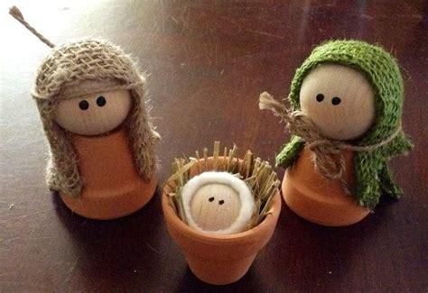 nativity joseph mary  baby jesus  terracotta pots