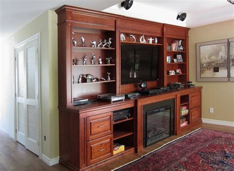 Cherry Wood Wall Unit with Electric Fireplace & TV