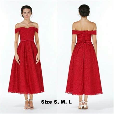 jual dress pesta sabrina brokat merah premium gaun pesta