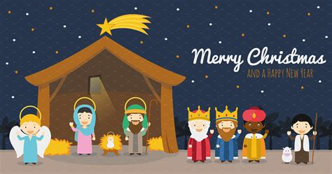 nativity scene  christmas illustrations creative market