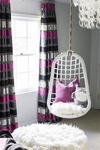 striped curtains contemporary girl39s room b metro With pretty girl teen chairs for bedroom