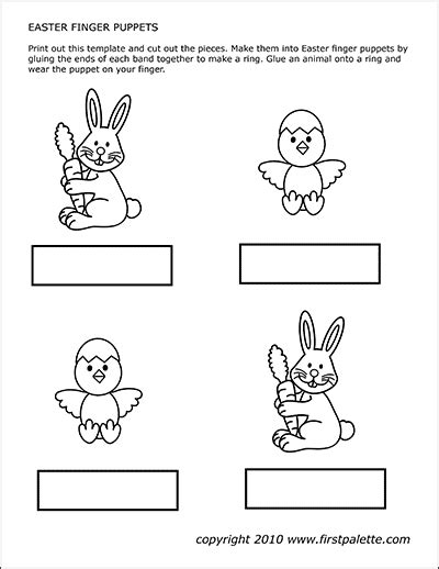 bunny  chick puppets  printable templates