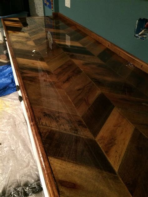 Pallet countertop with epoxy finish.   Basement