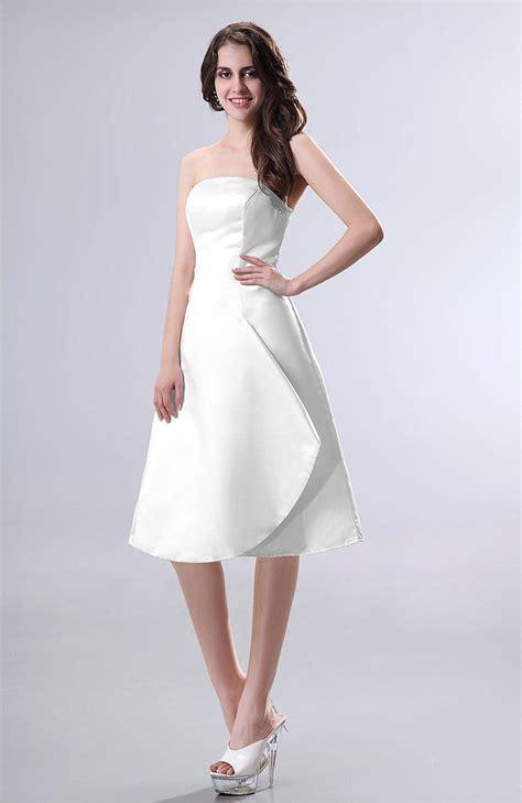 White Party Dress  Simple Aline Strapless Zipper Knee