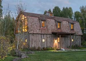 Rustic, Wooden, Barn, House, In, Wyoming, With, Modern, Interior, Elements