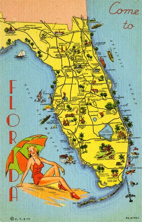 map  florida pointing   tourist attractions