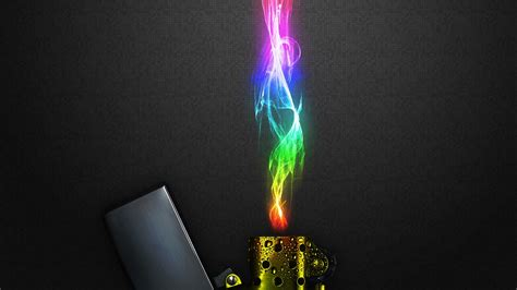 full hd wallpaper lighter rainbow fire smoke desktop