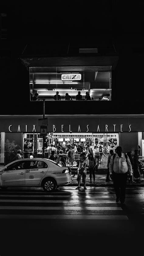 caix dark bw city street night android wallpaper android