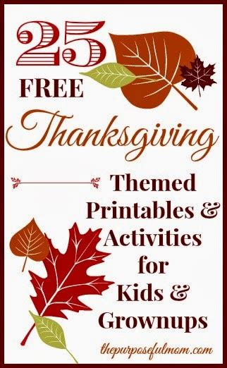 thanksgiving themed printables  kids  grownups