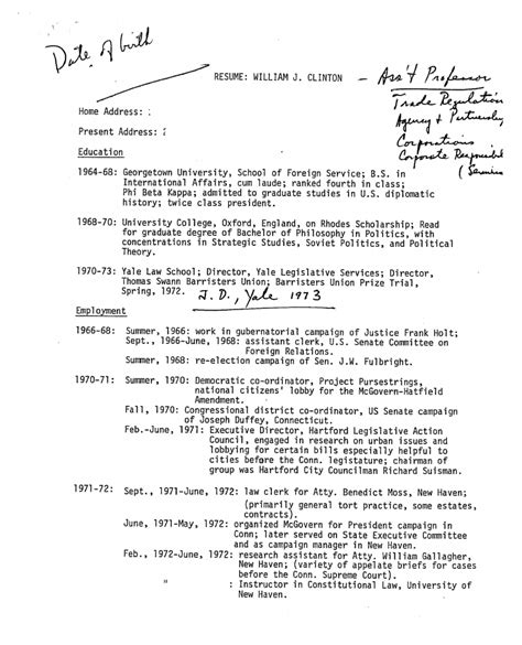 here s bill clinton s personnel file from his time as an