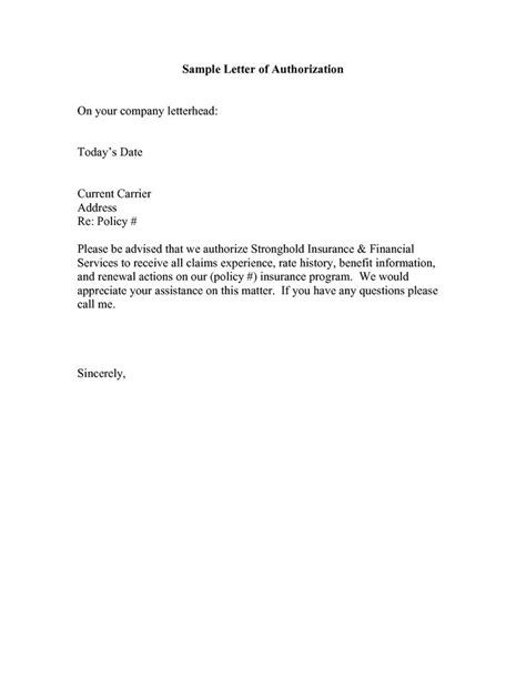 authorization letter format samples  template