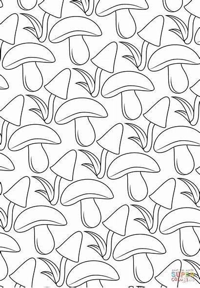 Coloring Pattern Mushroom Pages Printable Paper Drawing