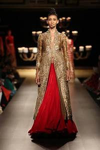 Manish Malhotra at India Couture Week 2014 - red lehenga skirt with long sleeved gold jacket ...