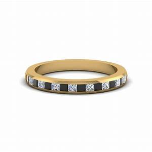 Princess Cut Wedding Band For Women With Black Diamond In