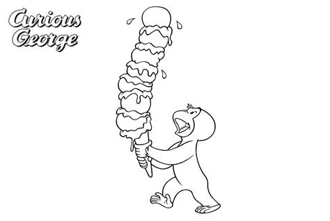 Curious George Coloring Pages Big Ice Cream