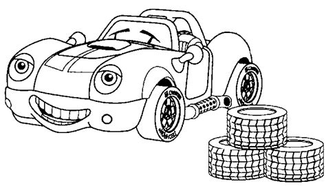 Coloring Page Race Car Tires