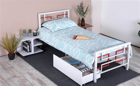 Green Forest Bed Frame Twin Size White, Metal