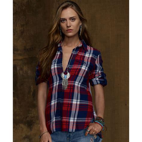 denim supply ralph longsleeve plaid flannel shirt in multicolor kevin plaid lyst
