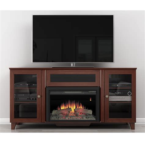 electric fireplace tv stand 70 inch furnitech ft70scfb shaker tv stand console with electric 9644