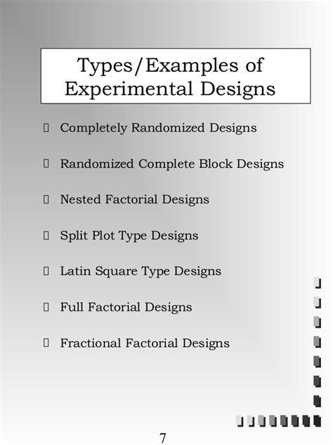 experimental design exles experimental design