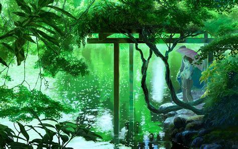 anime lake trees umbrella green wallpapers hd