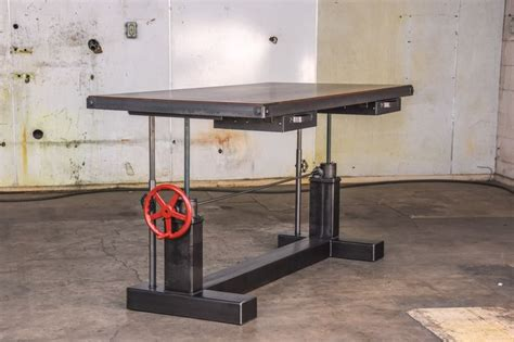 industrial standing desk crank sit stand desk by vintage industrial furniture