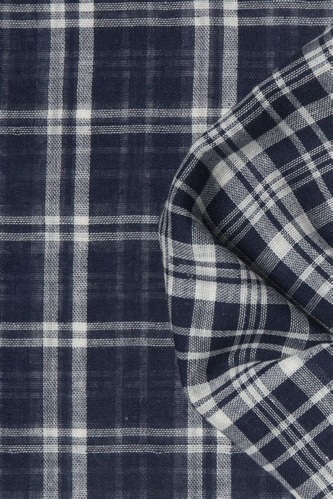 Double Cloth Navy And White Plaid Fabric