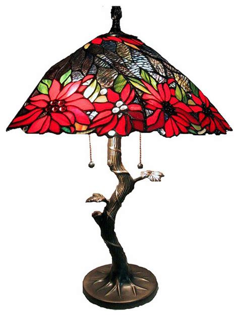 tiffany style tree base l with red shade contemporary