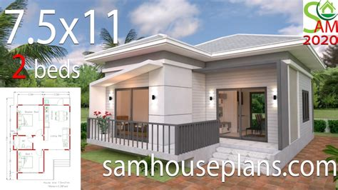 Small House Plans 7 5x11 with 2 Bedrooms Hip roof House