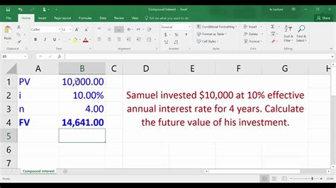 Compound Interest Calculating Future Value Using Excel Youtube