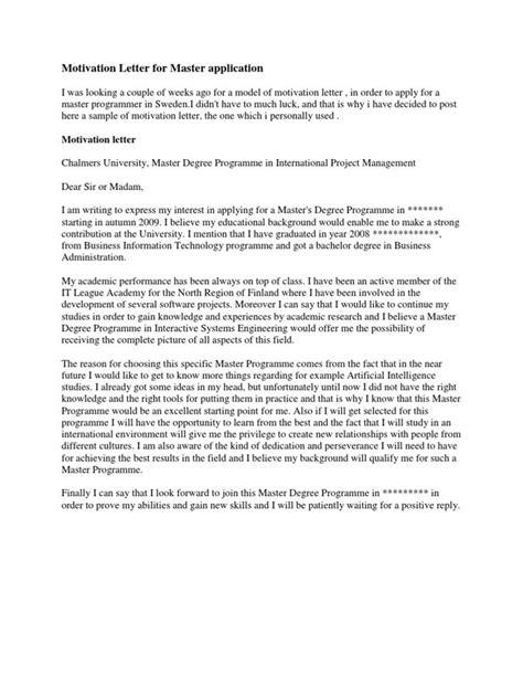 motivation letter  master application academic degree