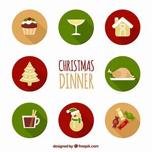 Collection of christmas dinner icons Vector | Free Download