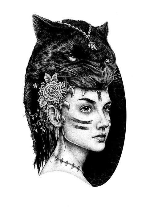 Panther & Girl Illustration by Paul Jackson | Black panther tattoo, Jaguar tattoo, Tattoo designs