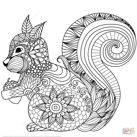 lovely squirrel zentangle coloring page  printable