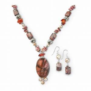 Red Jasper Oval Pendant Necklace And Earring Set