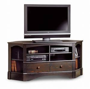 Furniture dark wood corner console table tv stand with for Dark wood media console