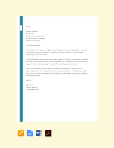 The application cover letter is a tool used to sell yourself as a job candidate. 16+ Job Application Letter for Teacher Templates - PDF ...